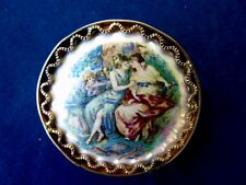 Vintage Limoges Porcelain & Brass Brooch