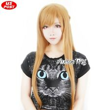 Anime Sword Art Online Asuna Yuuki Party Orange Long Wavy Hair Women Cosplay Wig