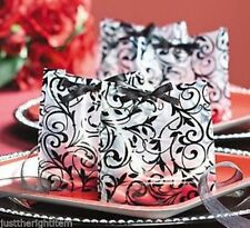 48 PARTY FAVOR Candy BAGS Damask Frosted Black White Birthday Wedding Reception
