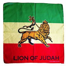 "Lion Of Judah Head Wrap Bandana Rasta Irie Reggae Hippie Army Style 22""x22"""