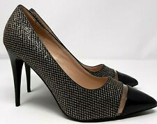Glamour Ladies Shoes UK 8 Black & Gold Mesh Stiletto High Heels Pointed Toe