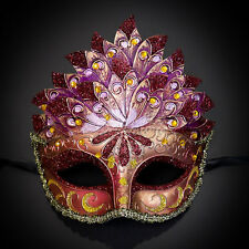 Red Pink & Gold Venetian Leaf Engraving Masquerade Mask for Women M3237