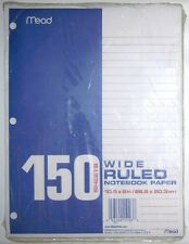 """MEAD WIDE RULED NOTEBOOK PAPER 150 SHEETS 10.5"""" x 8"""" / 26.6CM x 20.3CM"""