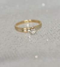 Solitaire Engagement Ring Size 5 1/4 1.5 g 10 K Two-Tone Gold .05 Ct Tcw G/Vs2