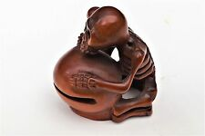 "antique japanese netsuke "" Death Beating The Drum Of Life """