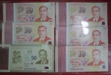 BA12-061 Set of Singapore $50 & 5 x $10 polymer Commemorative banknotes 2015