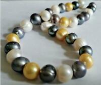 "20""  baroque 12MM AAA SOUTH SEA Black white gold PEARL NECKLACE 14K GOLD CLASP"