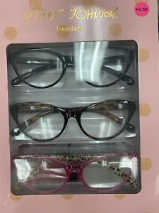 NIB Betsey Johnson 3 Pair COLOR Readers Reading  Glasses +2.50