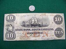 1860 $10 State Bank, South Carolina SC - nice XF note - FREE SHIP