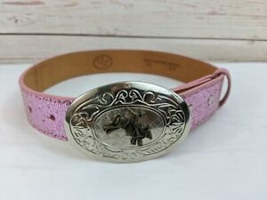 3D Western Leather Belt DDD Kid's Girl's 20 Bull Buckle Southwest Texas Pink