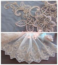 "12.5""*1Y Alencon Embroidered Organza Lace Fabric/Trim~Champagne Pink+Light Gold~"