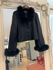 Leather Fur Evening Jacket Black Xs