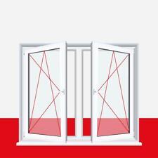 2-flügliges Kunststofffenster Fenster Weiß Dreh-Kipp / Dreh-Kipp mit Pfosten