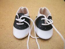Vintage Doll Saddle Shoes Pair Black & White 2 1/8 inch long