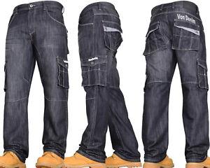 VON DENIM Mens Boys Casual Cargo Combat Work Pants Jeans Trousers Waist Sizes