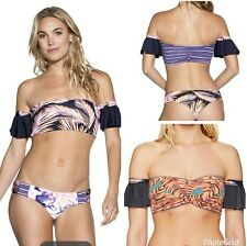 Maaji Reversible off Shoulder Ruffle Sleeve XL Large Colombian Paradise Bikini