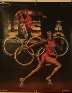 Original Vintage Poster 1987 Sheila Wolk 1988 Summer Olympics Track & Field 80s