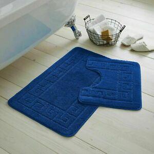2 PIECE JACQUARD GREEK BATH MAT Toilet Pedestal Set Non Slip Bathroom Rugs Mats