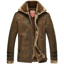Mens Air Force pilot fur lining suede fur leather jacket coat outwear overcoat