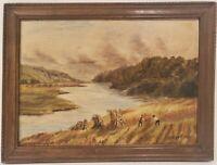 """Antique Oil Painting on Board Landscape Signed Framed Art  (12"""" x 16"""")"""