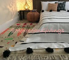 """Moroccan handwoven Pom Pom Blanket/100% natural Cotton,79""""Wx118""""L/ 200Wx300L."""
