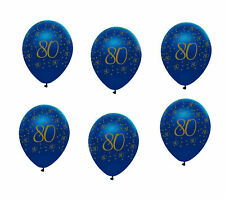 6 x 80th Birthday Balloons Navy Blue & Gold Party Decorations Age 80 Balloons