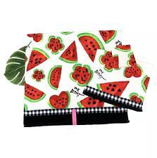 3 Pc Betsey Johnson Watermelon Mix Bath Hand Face/ Wash Towel Set Summer NEW