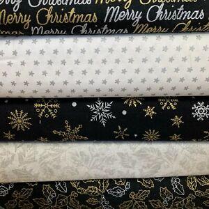 100% Cotton CHRITSMAS Prints -Glitter Sparkle, Holly, Craft, XMAS 2 110cm Wide