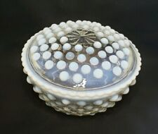 Vintage Fenton Hobnail Opalescent Glass Round Covered Candy or Trinket Dish