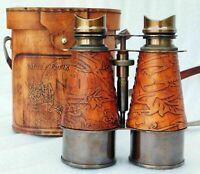 Vintage Antique Brass Binocular~Leather Telescope~Pirate Spyglass Binocular Gift