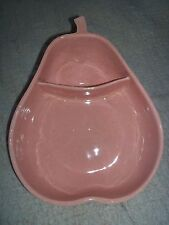 Vintage Pfaltzgraff Pear Shaped Chip and Dip Bowl 2 Sectioned Bowl Speckled Pink