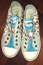 """Ed Hardy 7817 Melrose """"Death or Glory"""" Canvas Shoes Grey/Turquoise Womens Sz 5.0"""