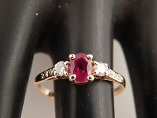 .75 tcw 3 stone Diamond & Mogok AAA+ Ruby Ring E/VS 14k YG Engagement Designer