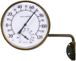 Wireless Indoor Outdoor Thermometer Brass Swing Arm Metal Mounting Vintage Brown