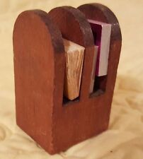 Vintage Miniature Dollhouse Handmade Wood Magazine or Book Rack w/Books