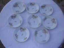 8 Assiettes à dessert  anciennes en porcelaine  charmant décor floral 19 ème