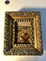 antique miniature Impressionist Oil painting Fishing Dorys Ornate Antique Frame