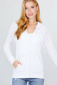 Women's Basic Zip Up Hoodie Thermal Jacket Lightweight Pockets Drawstrings