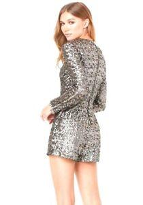 bebe x NAVEN Sequin Romper Size 4 Gunmetal Long Sleeve Shorts Gold Zip Back NEW