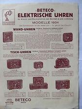 Werbeblatt Beteco Radio Berlin 1934 Elektrische Uhren und Lautsprecher