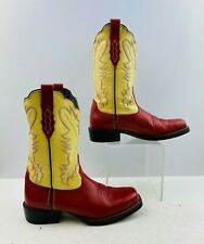 Ladies Acme Red/ Ivory Leather Square Toe Western Cowgirl Boots Size: 8 M