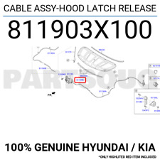 811903X100 Genuine Hyundai / KIA CABLE ASSY-HOOD LATCH RELEASE