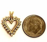 10k yellow gold .40ct SI1 H diamond heart pendant charm 2g estate vintage