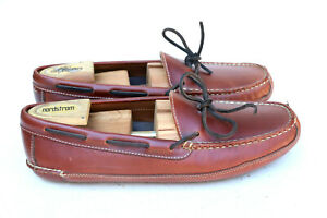LL Bean Brown Leather Moccasin Slip On Loafer Slippers 197690 Men's SZ 10D
