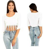 Women's Boho Tassle Decor White Solid Scoop Neck 3/4 sleeve Crop Top T-Shirt
