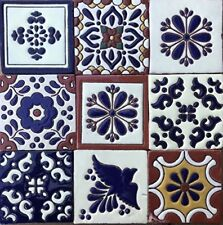 "Ceramic Relief Talavera Mexican Tile 4x4"", 9 Mixed Design NOT Stickers 3"