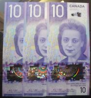 2018 BANK OF CANADA $10 DOLLAR VIOLA DESMOND THREE SEQUENTIAL UNCIRCULATED NOTES