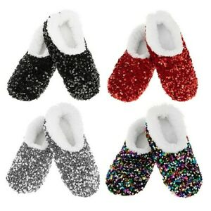 Ladies Snoozies Sherpa Lined - Non Slip Sole Sparkly Sequin Bling Slipper Socks