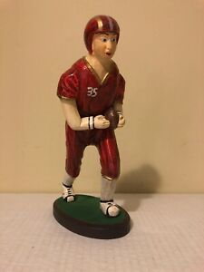 MODERN FOLK ART  Hand Carved - hand Painted  10 inch tall Wooden Football Player