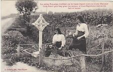 WWI MILITARY FRANCE YOUNG GIRLS TEND GRAVE OF BRITISH SOLDIER POSTCARD